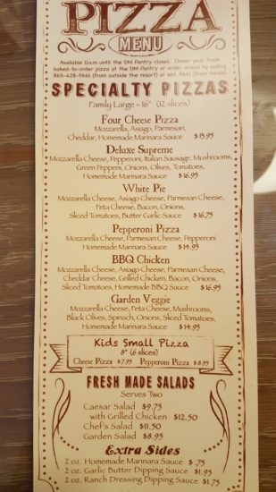 Dollywood's Dream More Resort. Pizza Menu